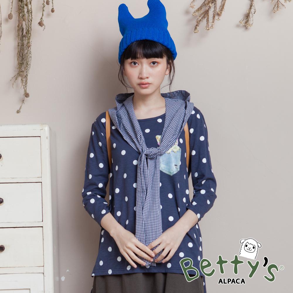 betty's貝蒂思 格紋帽+圓點貓咪印花T-shirt(深藍)