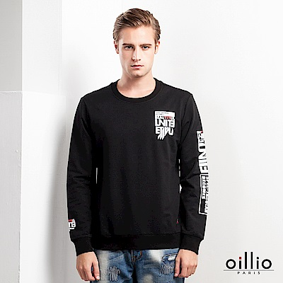 歐洲貴族 oillio 長袖T恤 布料貼標 特色袖子款 黑色