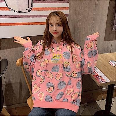 DABI 韓國風時尚酪梨連帽俏皮長袖上衣