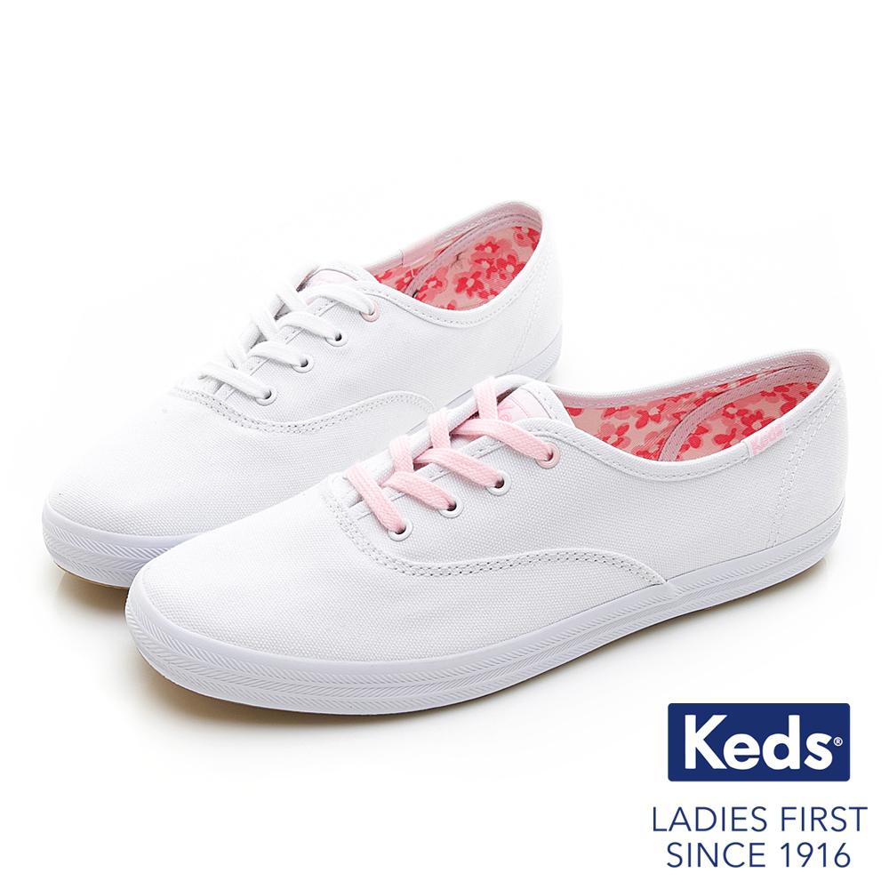 Keds CHAMPION 夢幻綁帶休閒鞋-白粉限定款