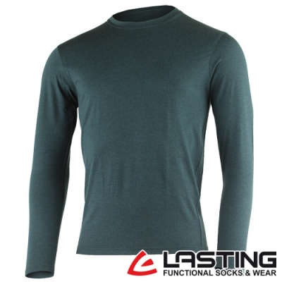 【LASTING捷克】男款羊毛抑菌除臭透氣保暖內著長袖T恤LT-LOGAN藍綠