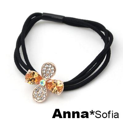 AnnaSofia 四葉耀鑽晶 純手工彈性髮束髮圈髮繩(香檳晶系)