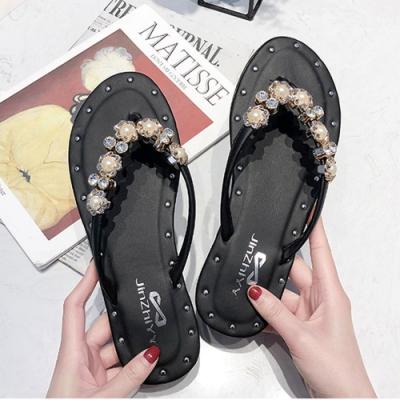 KEITH-WILL時尚鞋館 自然步調珍珠沙灘拖鞋-黑色