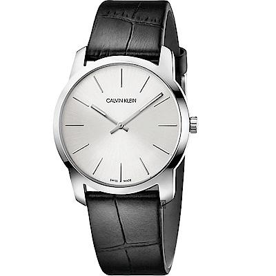 Calvin Klein CK City 極簡城市手錶-銀x黑/37mm K2G221C6