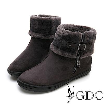 GDC-秋冬絨毛可愛俏皮基本款側扣飾小短靴-深灰色