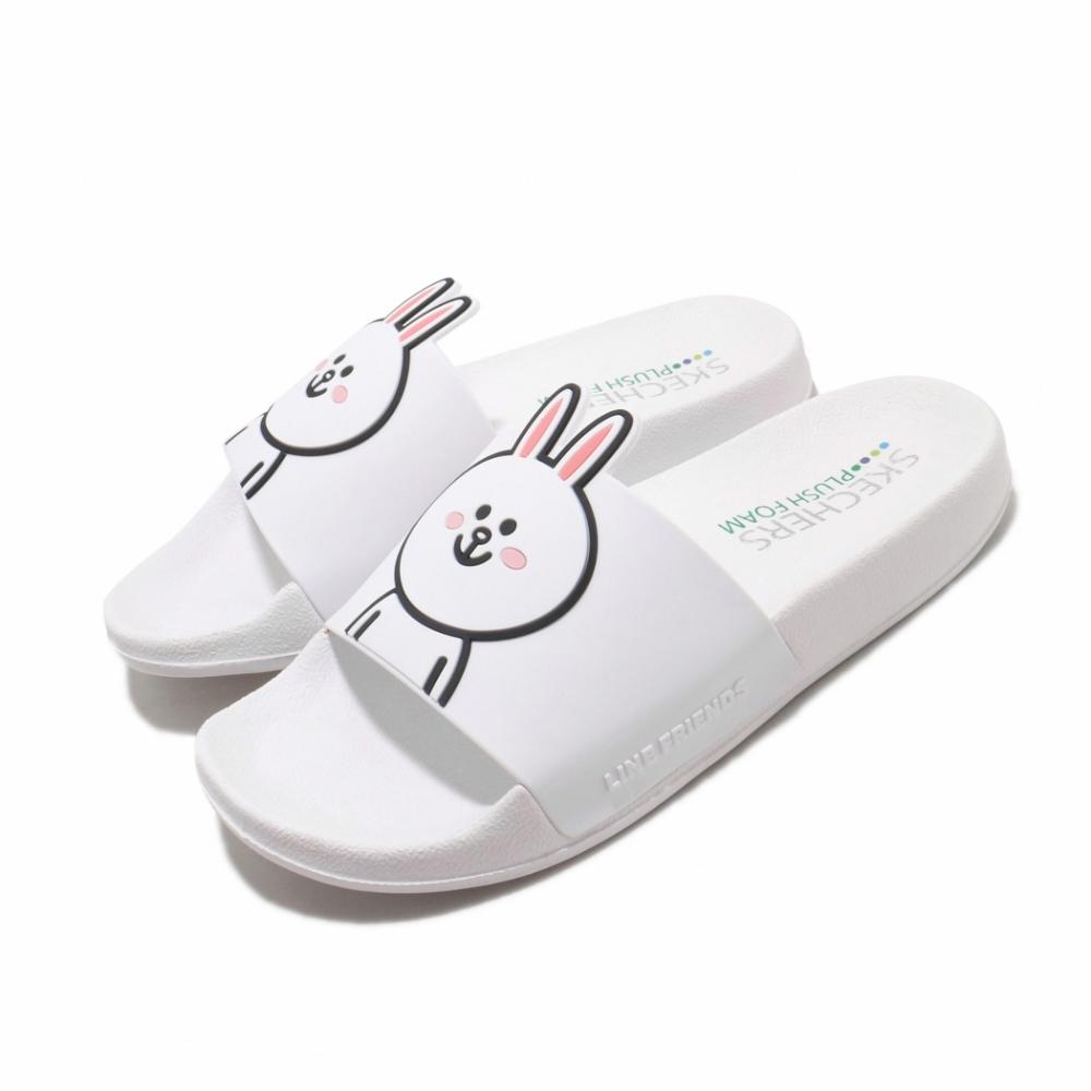Skechers 涼拖鞋 2ND TAKE 套腳 聯名 舒適 女鞋 兔兔 LINE FRIENDS 限定款 白 黑 31644WHT
