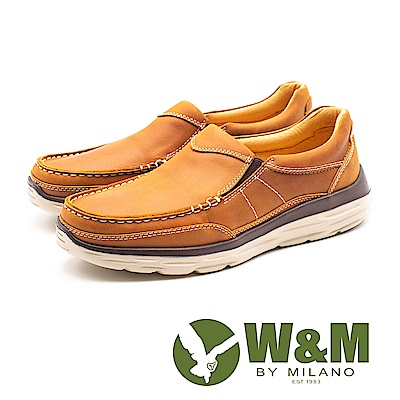 W&M (男)素面皮革休閒鞋-棕(另有咖)