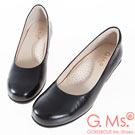 G.Ms. 小資X麻吉系列-MIT手工-牛皮小圓頭坡跟鞋-黑色