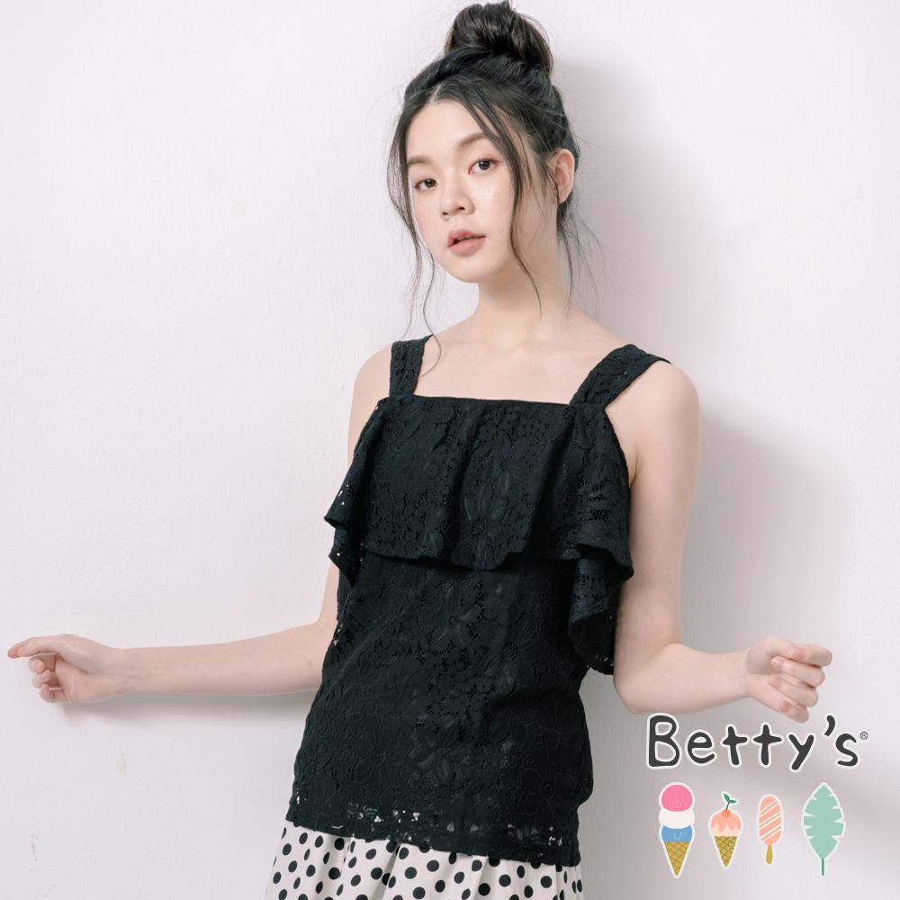 betty's貝蒂思 一字領肩帶蕾絲上衣(黑色)