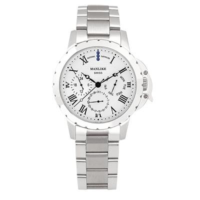 Manlike 曼莉萊克 藍寶石多功能三眼腕錶 銀色 白面 鋼帶