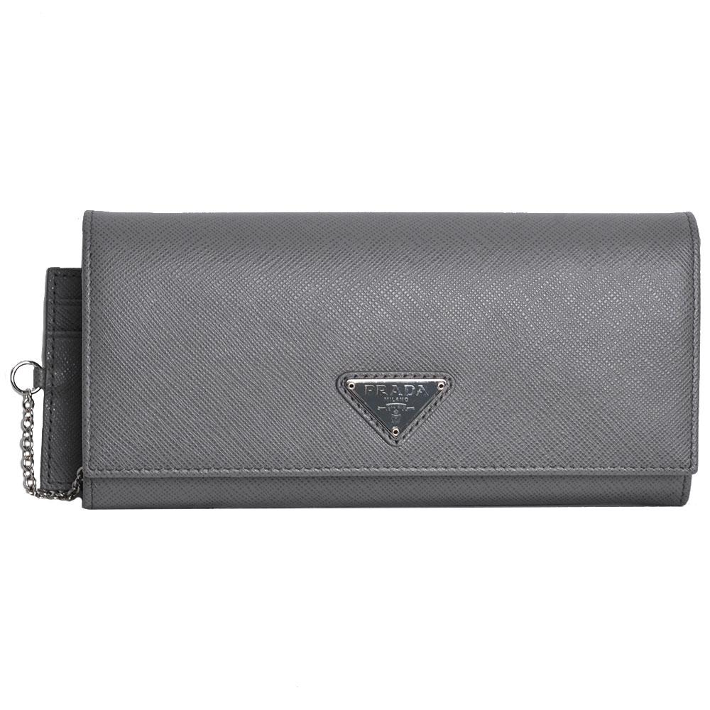 PRADA SAFFIANO 三角銀色LOGO釦式機能長夾(灰/附可拆證件卡夾)PRADA