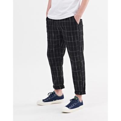 NAVY-格紋抽繩款長褲(二色)-情侶款-男【A1NA046】