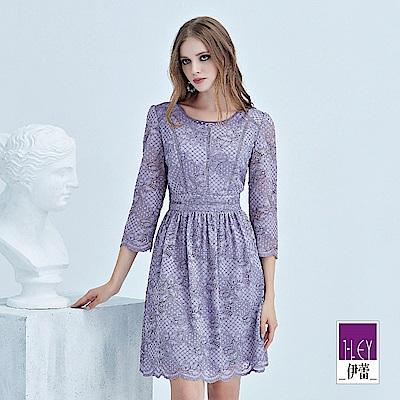 ILEY伊蕾 花朵縷空蕾絲圓領洋裝(紫)