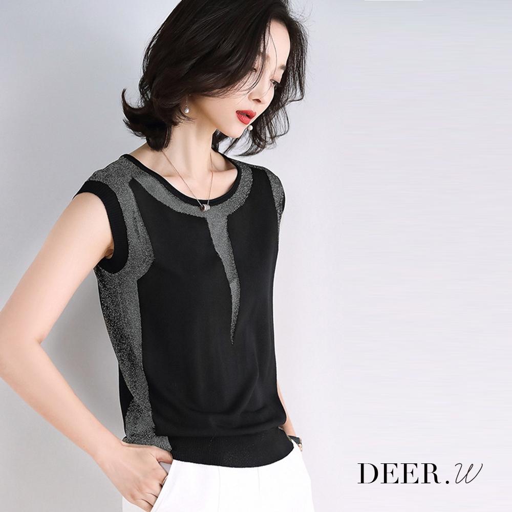 DEER.W 鏤空拼接無袖冰絲針織上衣(銀線/黑)