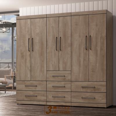直人木業-OLIVER古橡木220公分系統衣櫃組合