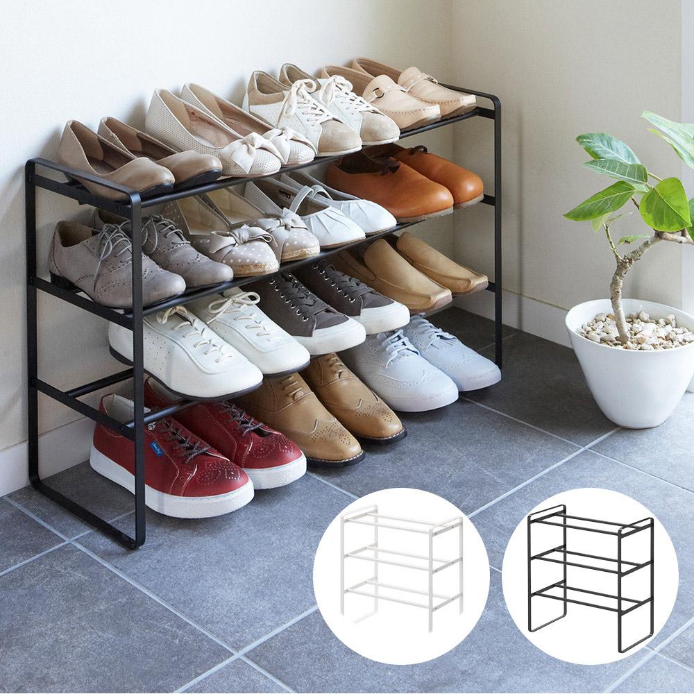 日本【YAMAZAKI】frame伸縮式三層鞋架(黑)★鞋架/置物架/收納架