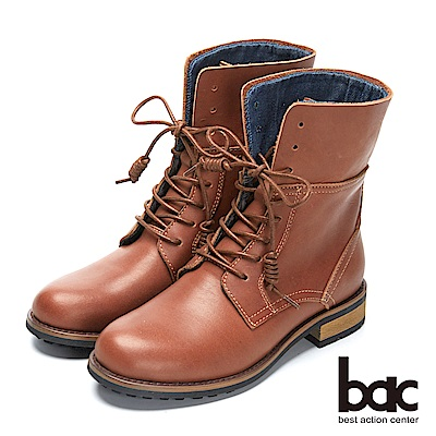bac時尚玩家 -2WAY單寧翻摺綁帶短靴