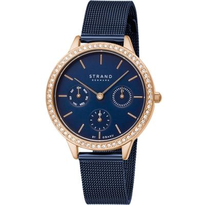 STRAND 丹麥海之星-浪漫星空三眼腕錶 / 玫瑰金藍-34mm(S704LMVLML)