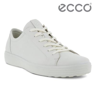 ECCO SOFT 7 M 質感綁帶輕便休閒鞋 男鞋 白色