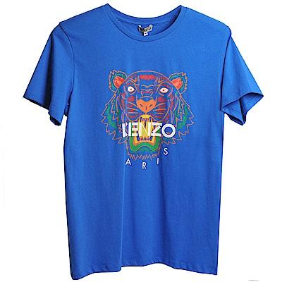 KENZO 經典品牌彩色印刷虎頭女版短T恤 (寶藍)