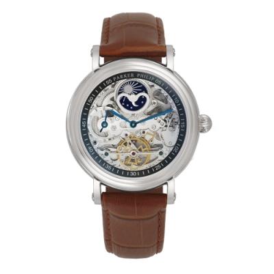 PARKER PHILIP派克菲利浦雙發條盒日月相兩地時區鏤空擺輪限量機械腕錶(銀殻/咖帶)