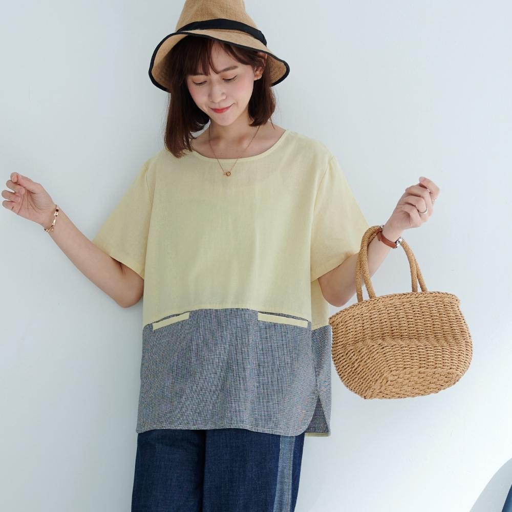 慢 生活 細格紋拼接口袋寬版上衣- 杏/綠