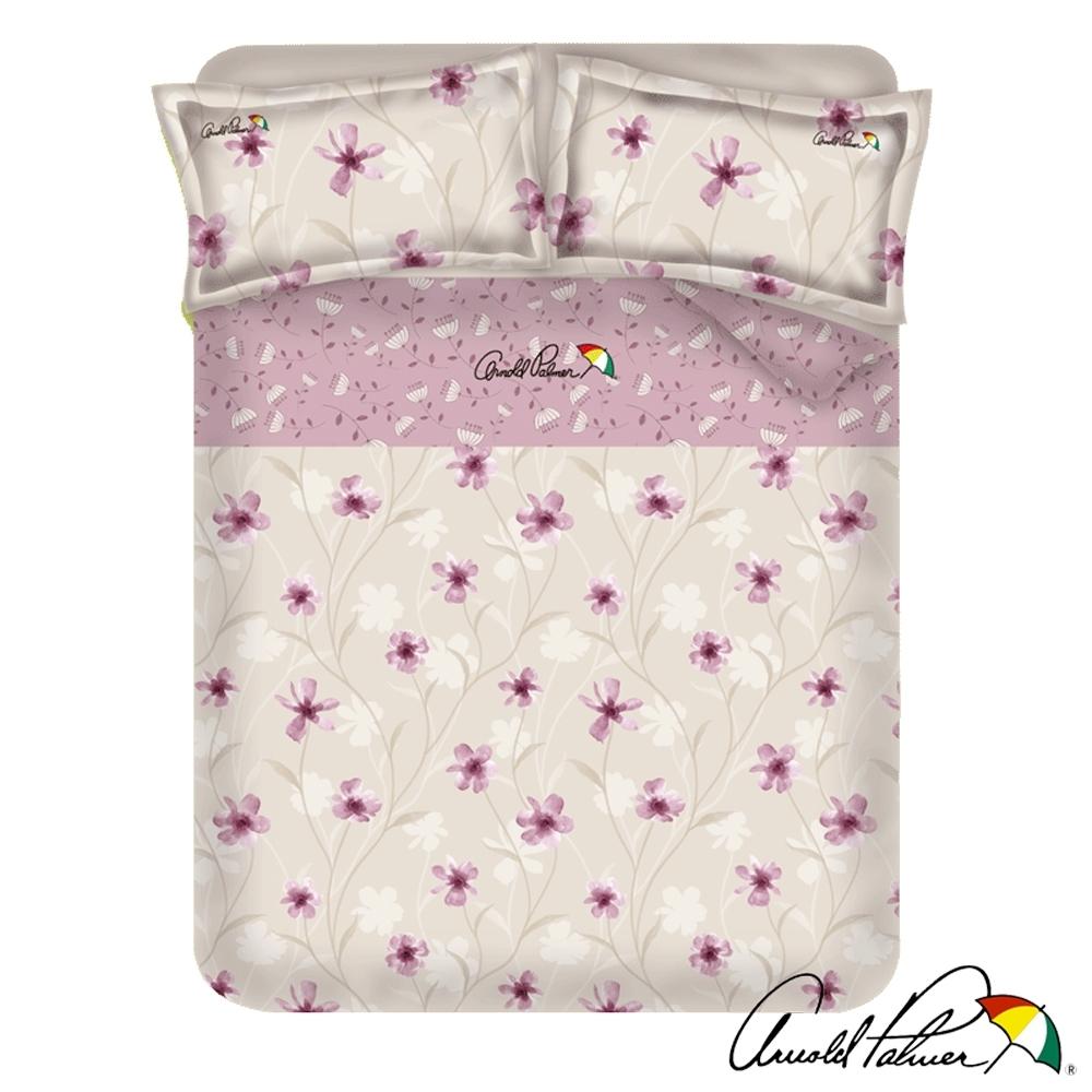Arnold Palmer雨傘牌 紫光花曲-台製40紗精梳棉床包被套雙人加大四件組