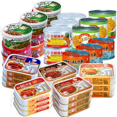 台糖山珍海味超值12件組(豬肉醬3組/鰻魚4組/鳳梨罐2組/玉米粒/紅鮭中骨/茄汁秋刀魚)