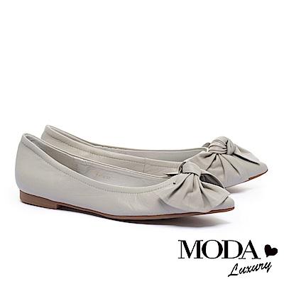 低跟鞋 MODA Luxury 簡約氣質素雅蝴蝶扭結尖頭低跟鞋-米