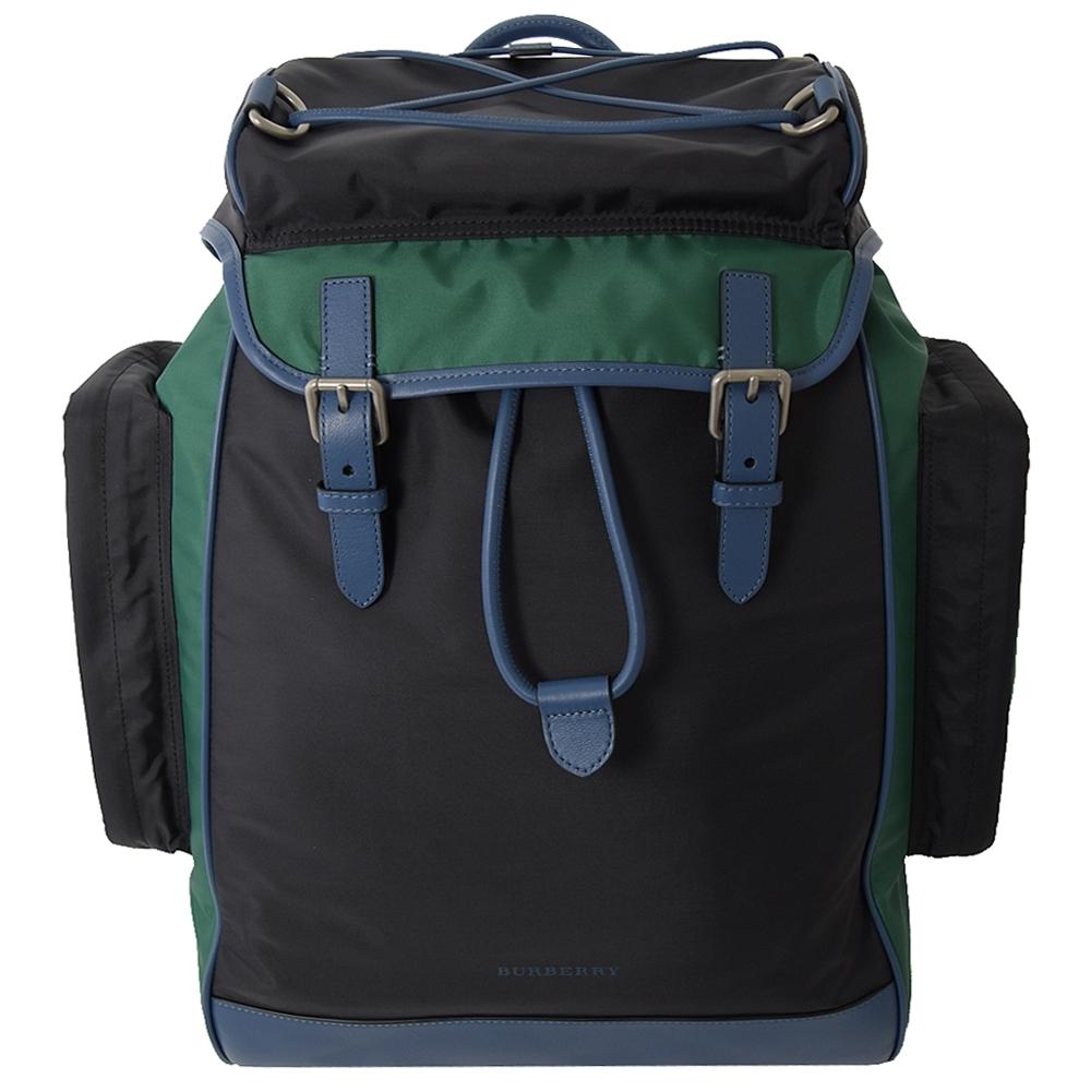 BURBERRY 簡約款拼色尼龍多口袋後背包(黑/綠)