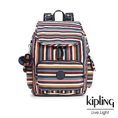 Kipling 後背包 彩色拼接條紋-中