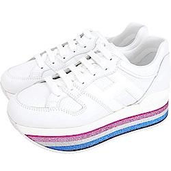 HOGAN Maxi H222 H 彩紅金蔥條紋厚底繫帶休閒鞋(白色)