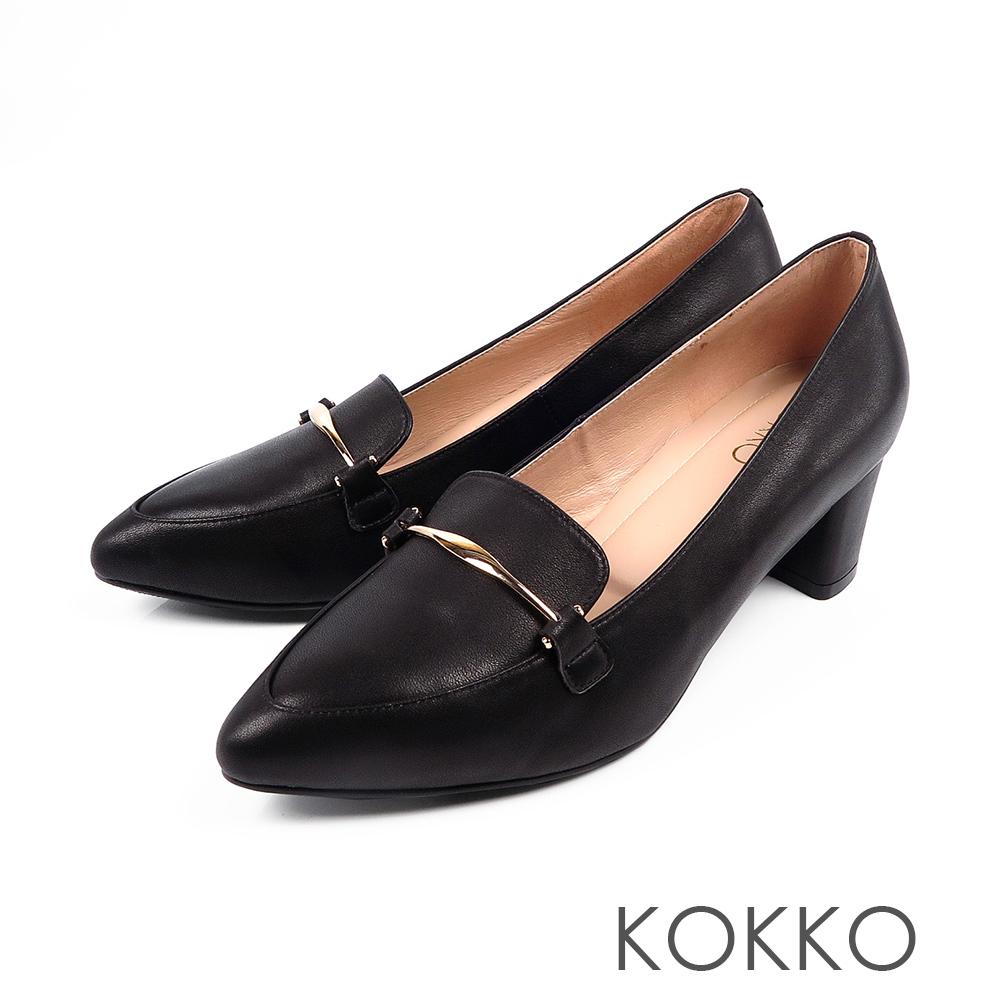 KOKKO  - 唯美之境金扣牛皮粗高跟樂福鞋-極簡黑