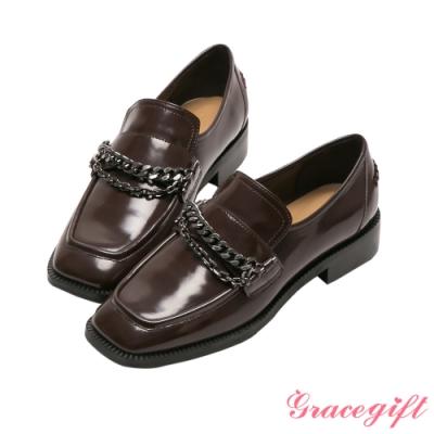 Grace gift X李柔-聯名金屬鍊條中跟樂福鞋 咖