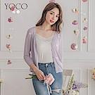 東京著衣-YOCO 質感蝴蝶結繡花五分袖針織外套
