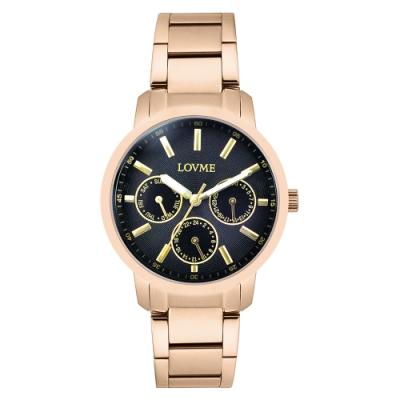 LOVME 經典三眼典雅時尚手錶-IP玫x黑/37mm