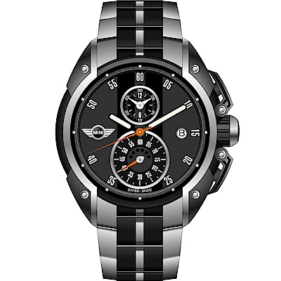 MINI Swiss Watches跑旅時尚計時腕錶(MINI-09)-黑x金屬帶款