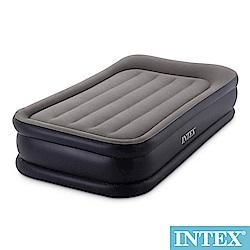 INTEX 豪華三層圍邊-單人加大充氣床-寬99cm(內建電動幫浦)-灰色(64131)