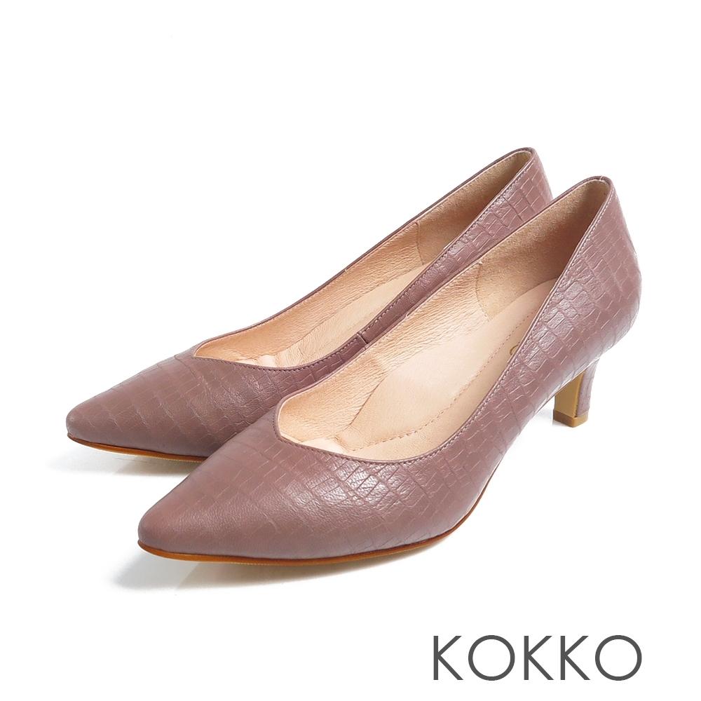 KOKKO優雅尖頭鱷魚壓紋羊皮粗跟鞋復古灰