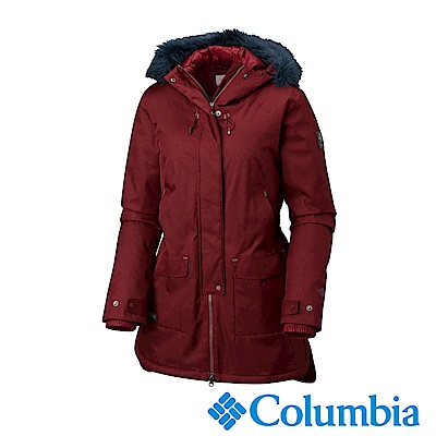 Columbia哥倫比亞 女款-Omni-TECH 防水長版大衣-暗紅