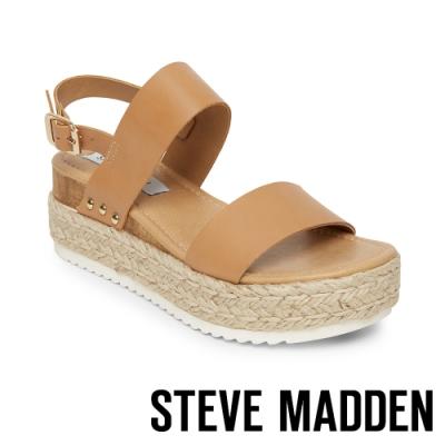 STEVE MADDEN-CICI 亮點金屬拼接麻編一字繫帶厚底涼鞋-卡其棕