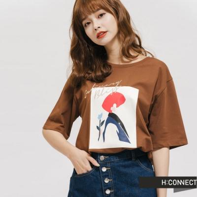 H:CONNECT 韓國品牌 女裝 -幾何畫圖像T-Shirt-棕