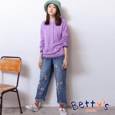 betty's貝蒂思 經典微刷破花朵刺繡牛仔褲(淺藍)