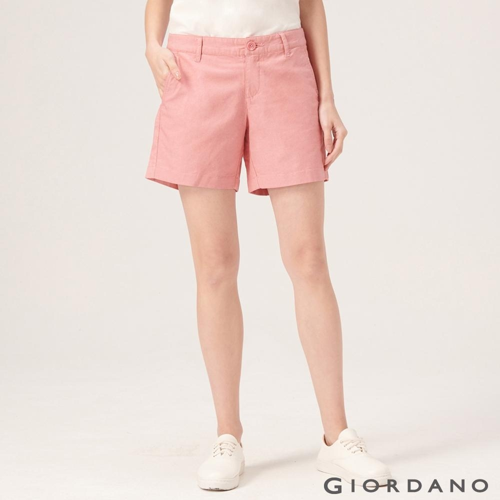 GIORDANO 女裝素色休閒卡其短褲-30 粉色