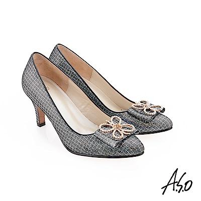 A.S.O 璀璨宴會 精緻鑽飾金箔羊皮高跟鞋 黑