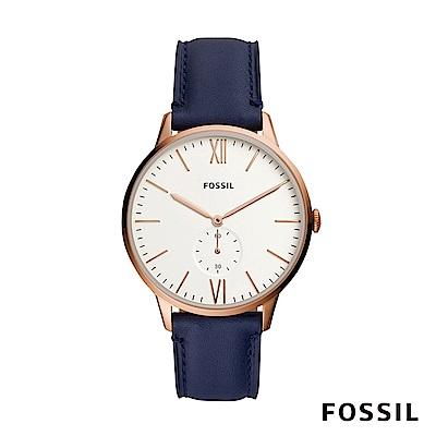 FOSSIL ANDY 玫瑰金藍色皮革男錶 42mm FS5567