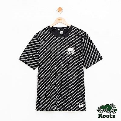男裝Roots 派尼頓滿版印花短袖T恤-黑
