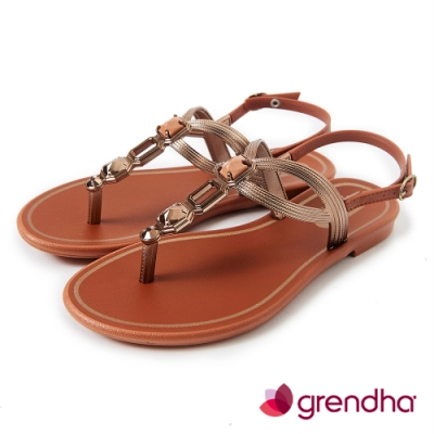 Grendha 璀璨宮廷寶石平底涼鞋-焦糖/銅金