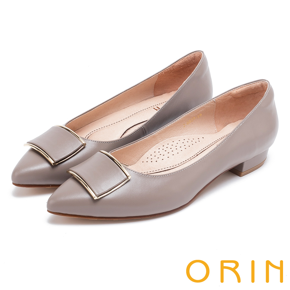 ORIN 復刻經典 柔軟羊皮金屬方扣尖頭粗低跟鞋-可可