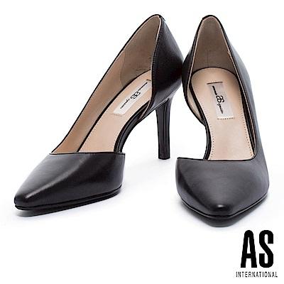 高跟鞋 AS 簡約純色側挖空全真皮尖頭高跟鞋-黑